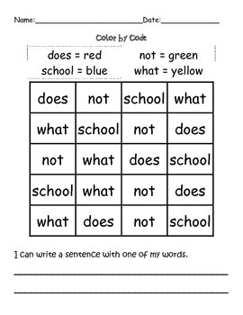 Reading Wonders High Frequency Word Practice Unit 1