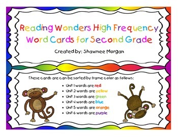 Reading Wonders High Frequency Word Wall Cards for 2nd Grade