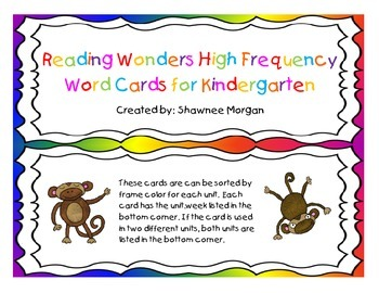 Reading Wonders High Frequency Word Wall Cards for Kindergarten