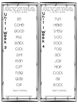 Reading Wonders High Frequency Word and Spelling Homework