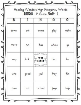 Reading Wonders High Frequency Words BINGO for 1st Grade Unit 1