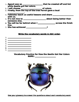 Reading Wonders How the Beetle Got Her Colors Literature Packet