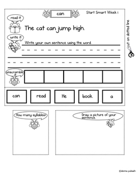 Reading Wonders Interactive Notebook 1st grade_Words to Know Smart Start