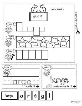 Reading Wonders Interactive Notebook 1st grade_Words to Know Unit 5