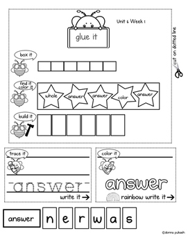 Reading Wonders Interactive Notebook 1st grade_Words to Know Unit 6