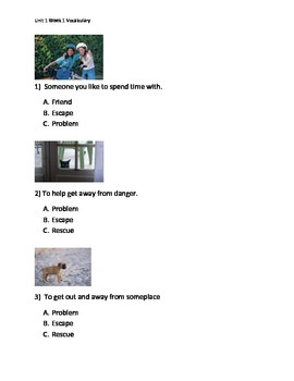 Reading Wonders K Vocabulary Assessments for all 10 Units