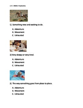 Reading Wonders K Vocabulary Unit 1 Week 2 Assessment