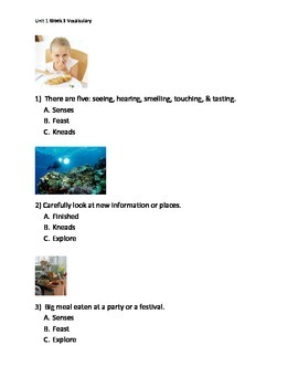 Reading Wonders K Vocabulary Unit 1 Week 3 Assessment