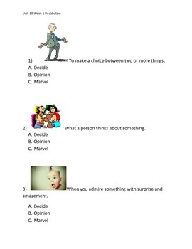 Reading Wonders K Vocabulary Unit 10 Week 1 Assessment