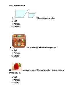 Reading Wonders K Vocabulary Unit 10 Week 2 Assessment