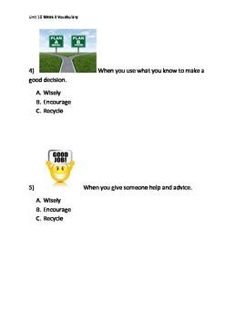 Reading Wonders K Vocabulary Unit 10 Week 3 Assessment