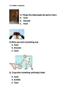 Reading Wonders K Vocabulary Unit 2 Week 1 Assessment