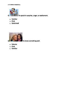 Reading Wonders K Vocabulary Unit 3 Week 2 Assessment