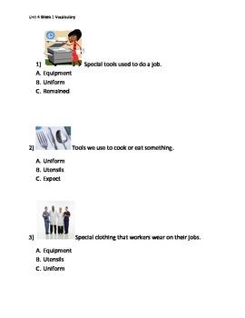 Reading Wonders K Vocabulary Unit 4 Week 1 Assessment