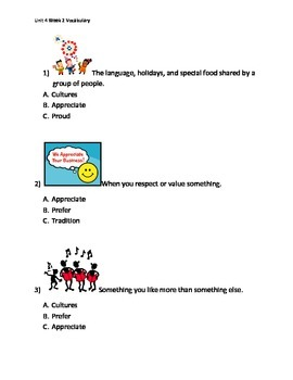 Reading Wonders K Vocabulary Unit 4 Week 2 Assessment