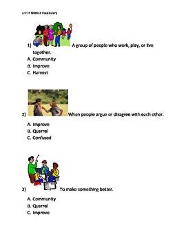 Reading Wonders K Vocabulary Unit 4 Week 3 Assessment