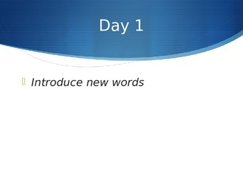Reading Wonders K Vocabulary Unit 5 Week 1