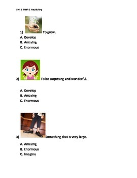 Reading Wonders K Vocabulary Unit 5 Week 2 Assessment