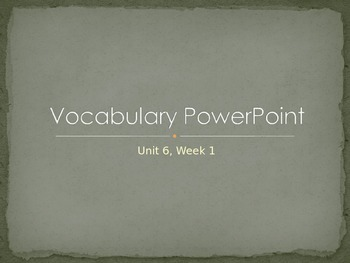 Reading Wonders K Vocabulary Unit 6 Week 1