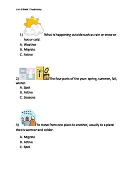 Reading Wonders K Vocabulary Unit 6 Week 1 Assessment