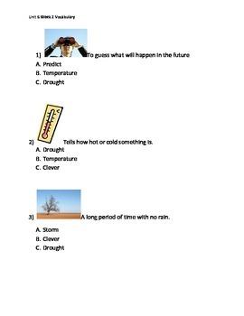 Reading Wonders K Vocabulary Unit 6 Week 2 Assessment