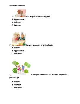 Reading Wonders K Vocabulary Unit 7 Week 1 Assessment