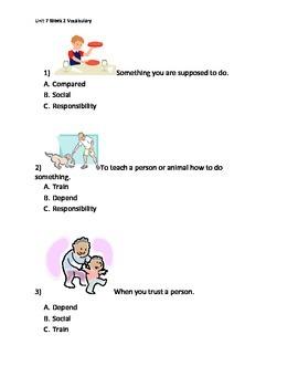 Reading Wonders K Vocabulary Unit 7 Week 2 Assessment