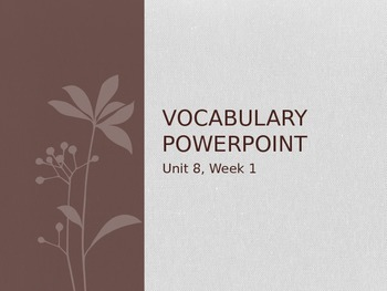 Reading Wonders K Vocabulary Unit 8 Week 1