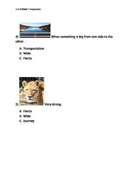 Reading Wonders K Vocabulary Unit 8 Week 1 Assessment