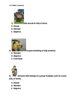 Reading Wonders K Vocabulary Unit 9 Week 1 Assessment