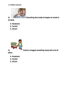Reading Wonders K Vocabulary Unit 9 Week 2 Assessment