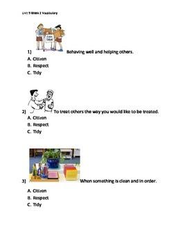 Reading Wonders K Vocabulary Unit 9 Week 2 Assessment