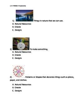 Reading Wonders K Vocabulary Unit 9 Week 3 Assessment