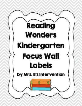 Reading Wonders Kindergarten Focus Wall Labels