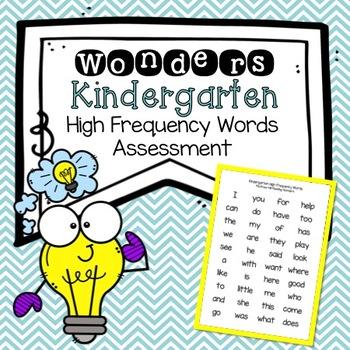 Reading Wonders Kindergarten High Frequency Words Checklis