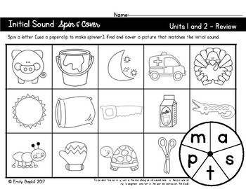 Reading Wonders Kindergarten Initial Sound Spin & Cover Units 1 and 2