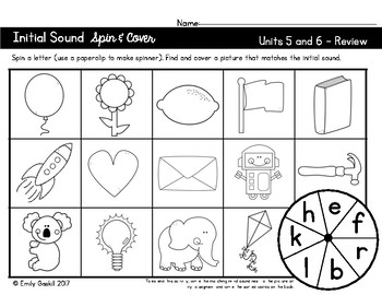 Reading Wonders Kindergarten Initial Sound Spin & Cover Units 5 and 6
