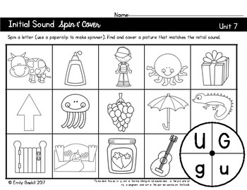 Reading Wonders Kindergarten Initial Sound Spin & Cover Units 7 and 8