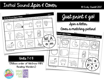 Reading Wonders Kindergarten Initial Sound Spin & Cover Un