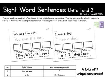 Reading Wonders Kindergarten Sight Word Sentences Units 1 and 2