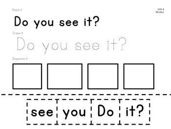 Reading Wonders Kindergarten Sight Word Sentences Units 3 and 4 | TpT