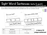 Reading Wonders Kindergarten Sight Word Sentences Units 5 and 6