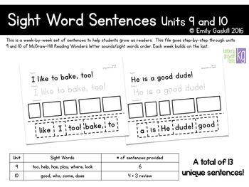 Reading Wonders Kindergarten Sight Word Sentences Units 9 and 10
