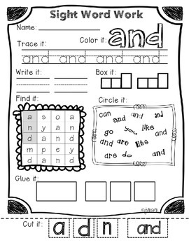 Reading Wonders Kindergarten Sight Word Work