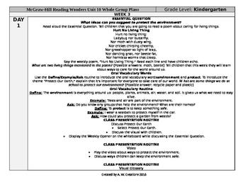 Reading Wonders Kindergarten UNIT 10 WEEK 3 Whole Group Plans