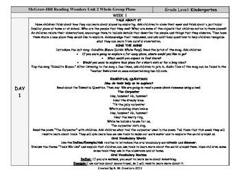 Reading Wonders Kindergarten UNIT 4 WEEKS 1-3 Whole Group