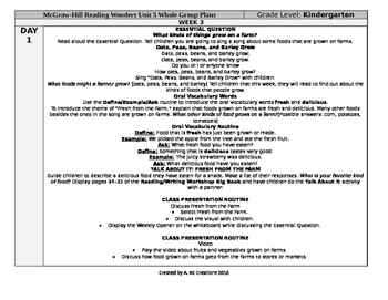 Reading Wonders Kindergarten UNIT 5 WEEK 3 Whole Group Plans