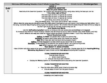 Reading Wonders Kindergarten UNIT 9 WEEK 2 Whole Group Plans