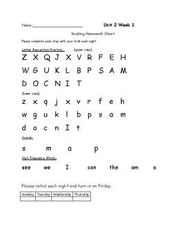 Reading Wonders Kindergarten Unit 2 Homework Sheet Pack Week 1 Week 2 Week 3