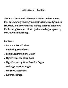 Reading Wonders Kindergarten Unit 5 Week 1